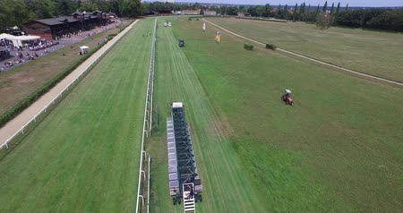 Horse Race track Aerial Drone 4k tractor pulls starting barrier Stok Video