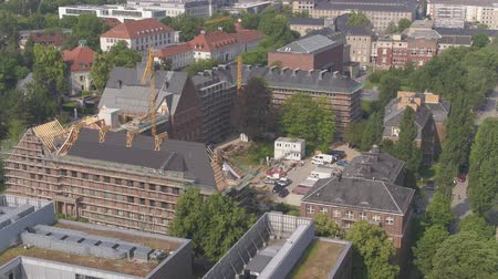 4K Drone aerial TU Dresden lecture hall, Technical University