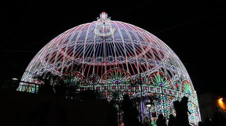 ünnepies : The dome decorated with festive lights Stock mozgókép