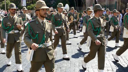 ROME, ITALY - JUNE 2, 2017: Military parade at Italian National Day. Musician and ski soldiers in formation, including women. Footage is taken between Piazza Venezia and Teatro di Marcello.4K.
