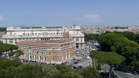 corte : ROME,ITALY - MAY 31,2017: Panoramic aerial view of the old town of Rome from San Angelo castle with Corte Suprema di Cassazione in background.Old town of Rome is listed under the UNESCO world heritage