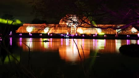 LONDON, ENGLAND - NOVEMBER 29, 2017: Laser projections at Royal Kew Gardens, during Christmas time.