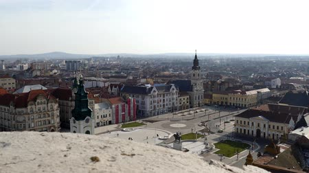 religioso : ORADEA, ROMANIA - JANUARY 27, 2018: Aerial view from the city hall tower over Oradea town with historic buildings, Crisul Repede and churches.