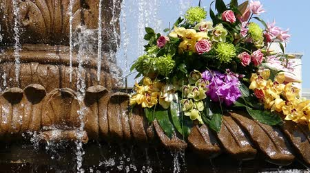 TIMISOARA, ROMANIA - APRIL 27, 2018: Beautiful old fountain with floral decorations in Victory Square, on the occasion of the Flower Festival organized by the City Hall. Vídeos