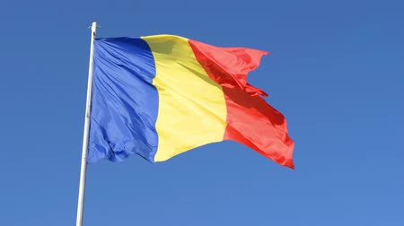 romeno : Romania Flag on post moving in the wind. Romanian red, green and blue flag waving in the wind with clear blue background.