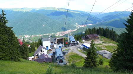 funicular : Sinaia, Prahova, Romania - June 29, 2019: View of the cable car gondola base station in Sinaia at 1400m altitude