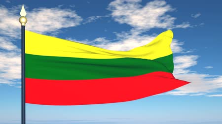 litvánia : Flag Of Lithuania on the background of the sky and flying clouds.