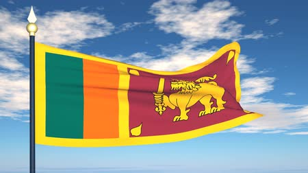 národní vlajka : Flag Of Sri Lanka on the background of the sky and flying clouds.