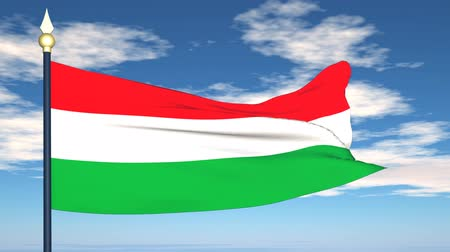 magyarország : Flag Of Hungary on the background of the sky and flying clouds.