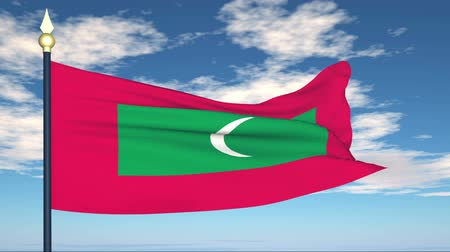 Мальдивы : Flag Of Maldives on the background of the sky and flying clouds. Стоковые видеозаписи