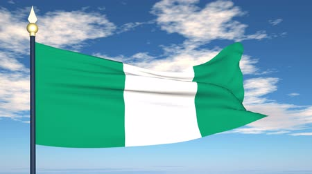 nigeria flag : Flag Of Nigeria on the background of the sky and flying clouds.