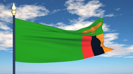 zambia : Flag Of Zambia on the background of the sky and flying clouds.