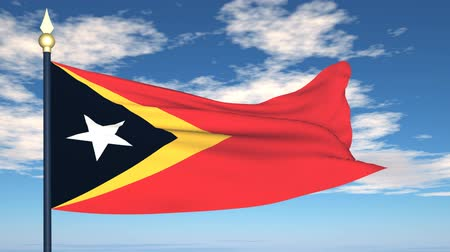 east timor : Flag Of East Timor on the background of the sky and flying clouds. Stock Footage