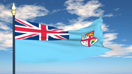 mastro de bandeira : Flag Of Fiji on the background of the sky and flying clouds.