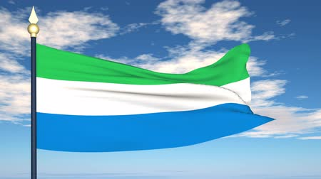 sierra leone flag : Flag Of Sierra Leone on the background of the sky and flying clouds. Stock Footage