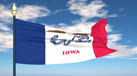 iowa : Flag state of Iowa on the background of the sky and flying clouds