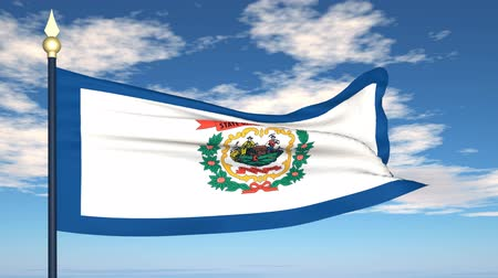 стремление : Flag state of West Virginia on the background of the sky and flying clouds