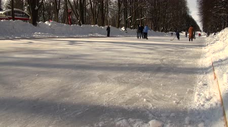 hockey rink : Skating rink, people on the skates Stock Footage