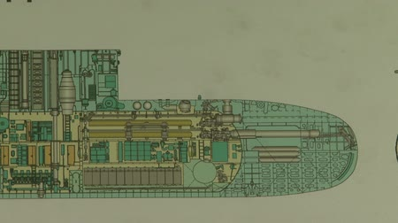torpedo : Drawing submarine Stock Footage