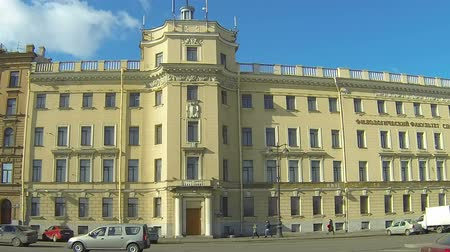 historical building : building of the philological faculty of the state University in St. Petersburg Stock Footage