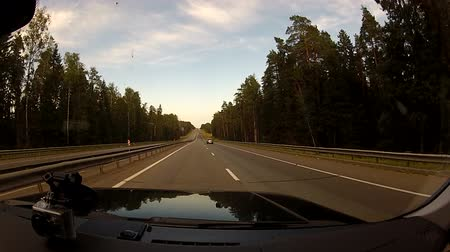 enrolamento : Driving on a highway along the forest
