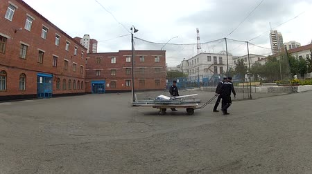 perimeter : Courtyard area, detention camps            Stock Footage