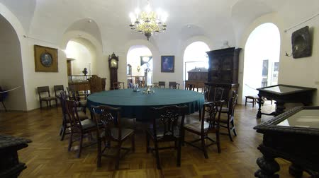 sala de reuniões : Round table for meetings. Kunstkamera. Saint-Petersburg. Museum of anthropology and Ethnography.  Stock Footage