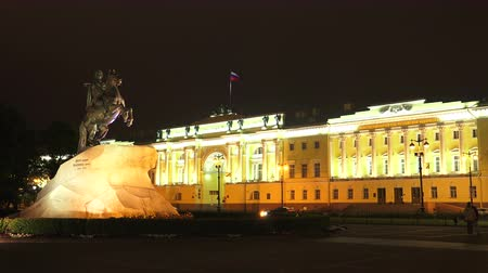 senate square : Monument to Peter I on the Senate square in St. Petersburg. Bronze Horseman. Night. Shot in 4K (ultra-high definition (UHD)), so you can easily crop, rotate and zoom, without losing quality!  Real time.