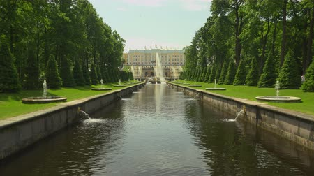 squirting : Alley of fountains. Peterhof. Fountains. Petrodvorets. 4K. Shot in 4K (ultra-high definition (UHD)), so you can easily crop, rotate and zoom, without losing quality!  Real time.