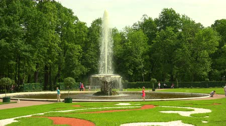 saintpetersburg : Fountain Bowl. Peterhof. Fountains. Petrodvorets. 4K. Shot in 4K (ultra-high definition (UHD)), so you can easily crop, rotate and zoom, without losing quality!  Real time.