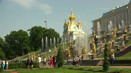 squirting : Fountain of the Grand cascade. Peterhof. Fountains. Petrodvorets. 4K. Shot in 4K (ultra-high definition (UHD)), so you can easily crop, rotate and zoom, without losing quality!  Real time.