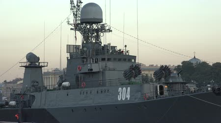 destroyer : Russian military naval ship. Shot in 4K Stock Footage
