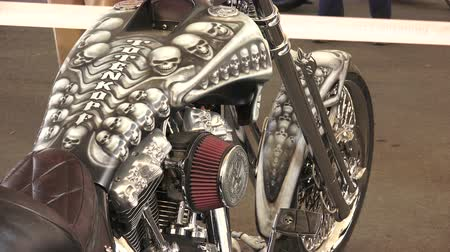 výstava : Skeleton on Harley Davidson bike. Shot in 4K (ultra-high definition (UHD)), so you can easily crop, rotate and zoom, without losing quality!  Real time.