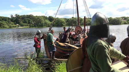 lanoví : Combat Viking ship. Medieval warriors. Shot in 4K (ultra-high definition (UHD)), so you can easily crop, rotate and zoom, without losing quality!  Real time.