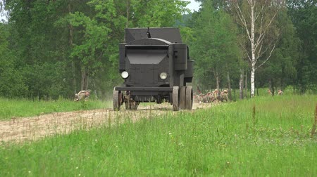 wwi : Armored car in the field. The first world war. Shot in 4K (ultra-high definition (UHD)), so you can easily crop, rotate and zoom, without losing quality!  Real time.