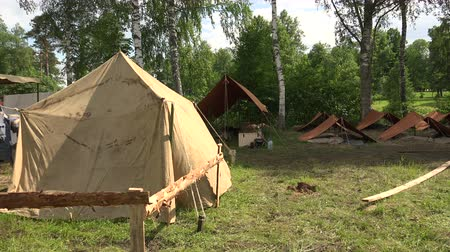 сокрытие : Military tent camp. The first world war. 1914-1918. Shot in 4K (ultra-high definition (UHD)), so you can easily crop, rotate and zoom, without losing quality!  Real time. Стоковые видеозаписи