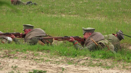 wwi : Attack of Russian soldiers. The first world war. WWI.  1914-1918. Shot in 4K (ultra-high definition (UHD)), so you can easily crop, rotate and zoom, without losing quality!  Real time.