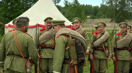 wwi : The guard of  Russian soldiers. The first world war. WWI. 1914-1918. Shot in 4K (ultra-high definition (UHD)), so you can easily crop, rotate and zoom, without losing quality!  Real time.