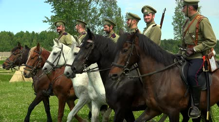 wwi : Russian soldiers on horseback. WWI. 1914-1918. Shot in 4K (ultra-high definition (UHD)), so you can easily crop, rotate and zoom, without losing quality!  Real time. Stock Footage