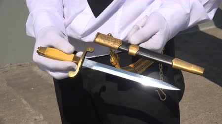 bıçaklamak : Soviet naval dirk (dagger). Shot in 4K (ultra-high definition (UHD)), so you can easily crop, rotate and zoom, without losing quality!  Real time.