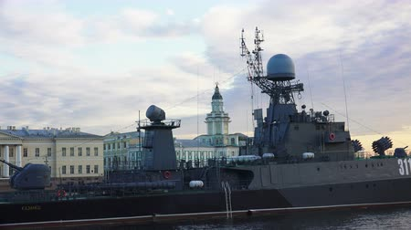 destroyer : Russian military naval ship. Shot in 4K ultra-high definition UHD