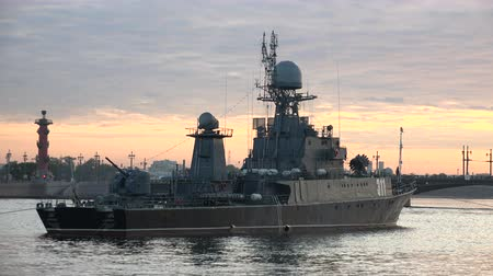 destroyer : Russian military naval ship Stock Footage