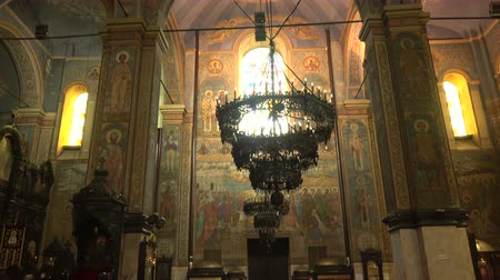 bulgaristan : The Cathedral of the Assumption in Varna, Bulgaria. The interiors of the temple.  Stok Video