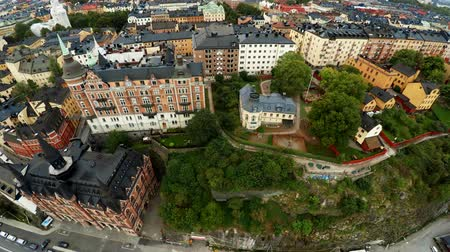 estocolmo : Aerial view. Stockholm. Old houses, buildings and streets. City center. Sweden. Shot in 4K (ultra-high definition (UHD).