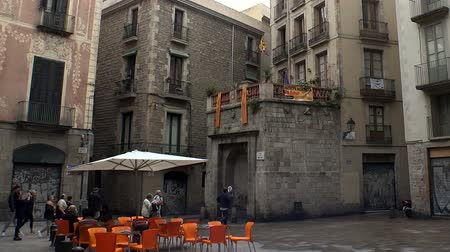 Gothic Quarter of Barcelona. Spain. Stock mozgókép