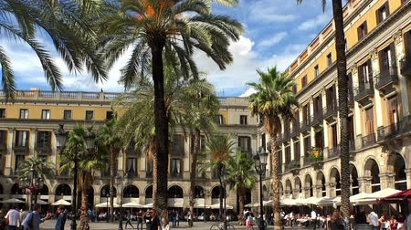 Royal Square with a fountain of the Three Graces in Barcelona. Spain.