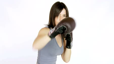 puncs : Strong woman boxer punching