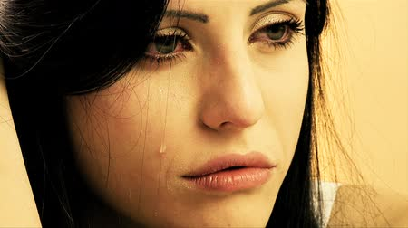 üzgün : Desperate lonely beautiful woman depression problems Stok Video
