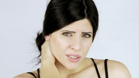 krk : Beautiful woman with strong neck pain