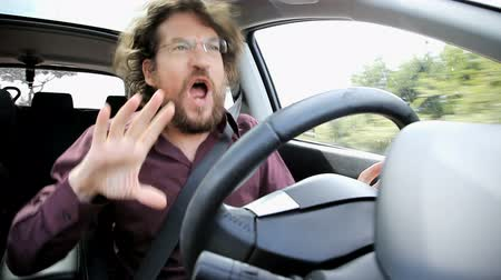 inside cars : Cool man having fun driving and singing